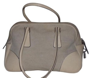 Prada High-end Bohemian Has Lock Key Xl Size Bowler Reat Year Round Two Satchel in tweed canvas and ivory leather