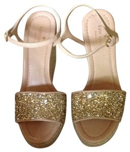 Kate Spade Beige- gold glitter wedge Wedges