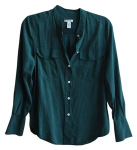 J.Crew Silk Blouse Work Button Down Shirt Green