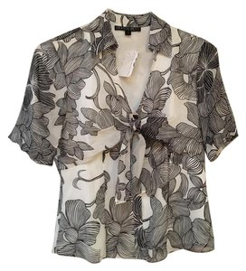 Lafayette 148 New York Top Black and white floral