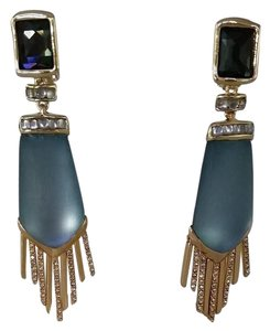 Alexis Bittar Lucite and Crystal Fringe Dangle Clip-on Earrings