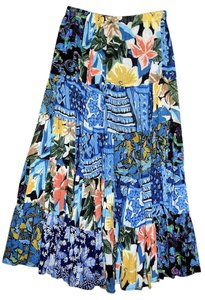 Whittal & Shon Long Multi-blues & Polyester Small To Medium Elastic Waist. Maxi Skirt