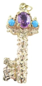 Other 14K SOLID YELLOW GOLD PENDANT KEY TO MY HEART VALENTINES LOVE CHARM STONES