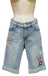 Alberto Makali Boho Denim Sequin Distressed Emboidered Bermuda Shorts Light Blue