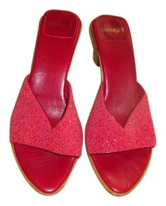 Zamagni Red Beaded Sandals