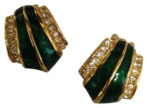 Christian Dior CHRISTIAN DIOR Vintage Green Gold Plated Clip-On Earrings
