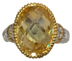Judith Ripka Judith Ripka Citrine Ring, Diamonds, Sterling Silver, 18K Gold