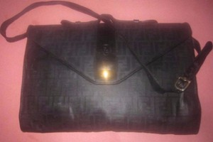 Fendi Extra Size Or Tote New Old Stock Black Link Multi-compartment Satchel in black/grey large F logo print