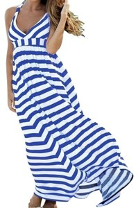 Blue White Maxi Dress by OndadeMar Striped Nautical Maxi