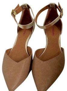 Tesori Pointed Toe Ankle Strap Beige/Gold Wedges