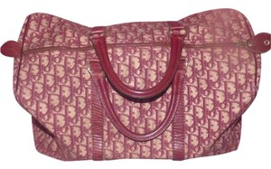 Dior Huge And Spacious Rare Bagages Line Canvas/leather Tote in shades of burgundy in Dior trotter logo print