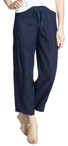 Eileen Fisher Linen Drawstring Lantern Wide Leg Pants MIDNIGHT