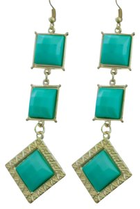 Turquoise Faux Stone Sqare Diamond Shaped Drop Earrigs!