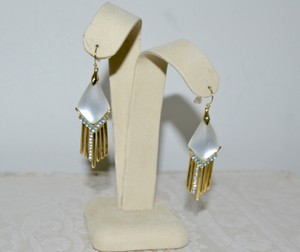 Alexis Bittar New Alexis Bittar Kite Shaped Earrings White Crystal Encrusted Gold Fringe And Wire