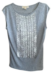 Michael Kors Sequin Summer Fun T Shirt Silver