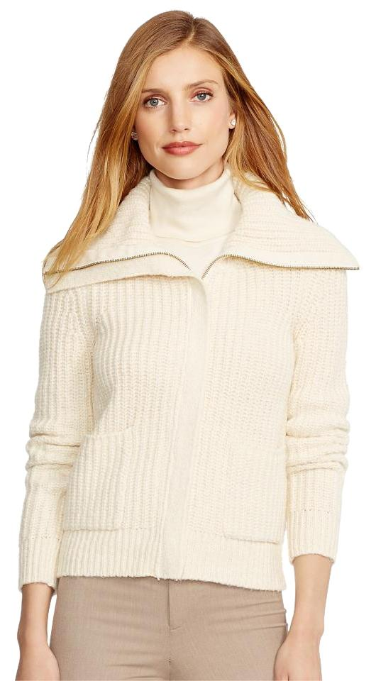 d9041be91 Lauren Jeans Company Cream Cotton Blend Ribbed Zip Front Oversized ...