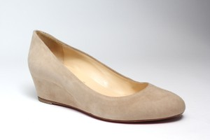 Christian Louboutin Suede Beige Wedges