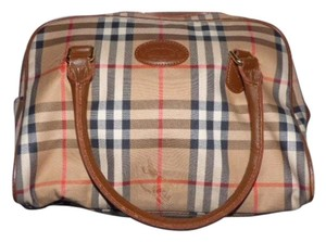 Burberry Mint Vintage Lots Of Pockets Early Looks Unused Nova Lining Satchel in camel leather/Nova Check plaid fabric