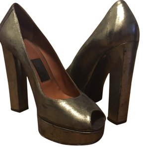 Lanvin Platform Peep-toe Pump Metallic Olive Green Pumps