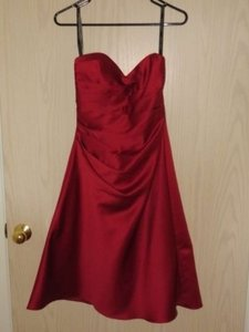 Alfred Angelo Claret Satin Gown Formal Bridesmaid/Mob Dress Size 4 (S)