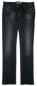 MEK DNM 5 Pocket Style Zip Fly Zipper Back Pockets Straight Leg Jeans-Dark Rinse