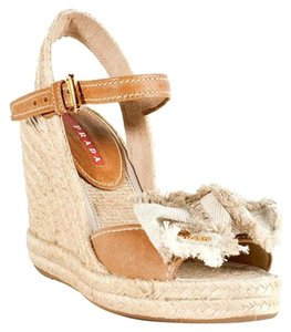 Prada Espadrille Wedge Beige Wedges