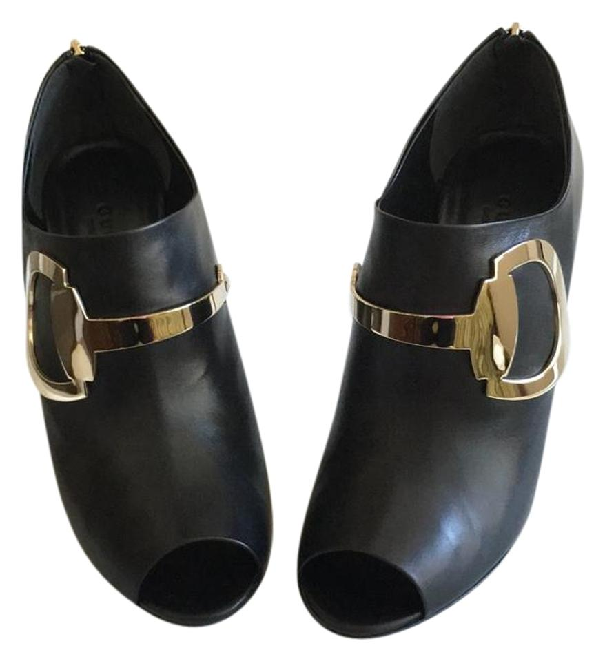 208141a0c Gucci Black Horsebit Rooney Leather Peep-toe Boots/Booties Size US 8 ...