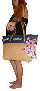 Lilly Pulitzer Straw Leather Metallic Floral Tote in Natural/Blue/Gold