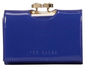 Ted Baker Bow Top Patent Leather Small Purse Purple Blue Gold Carro White Bifold Wallet