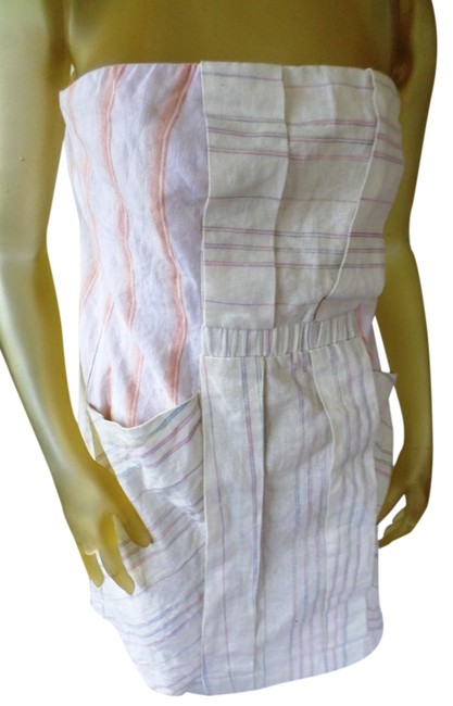 Item - Ivory Peach Striped Urban Outfitter Strapless Above Knee Short Casual Dress Size 12 (L)