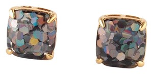 Kate Spade NEW Kate Spade New York Grey Holographic Large Glitter Stud Earrings 12k Gold