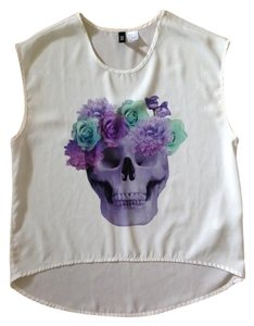 H&M Skull Floral Summer Spring Top White