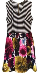 Taylor short dress Pink floral print and navy stripes on Tradesy