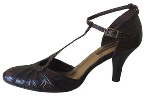 Antonio Melani Embossed Leather Studded T-strap Keyhole Brown Pumps
