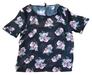 H&M Floral Summer Spring Top Black/Floral