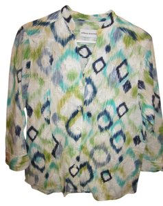 Alfred Dunner Blouse Medium 10 White Textured Fabric Blue Green Navy Tan Aqua 3/4 Sleeve Stand Up Collar V Neck Shirt Cotton Button Down Shirt Multi