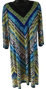 Chico's short dress green, turquoise, black Shift Tribal on Tradesy