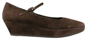 Jil Sander Wedge Mary Jane Chunky Brown Platforms
