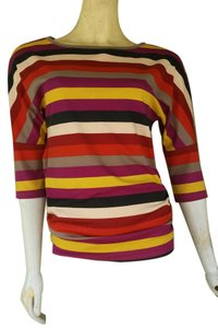 Ann Taylor Striped Jersey Colorful T Shirt Mult-color