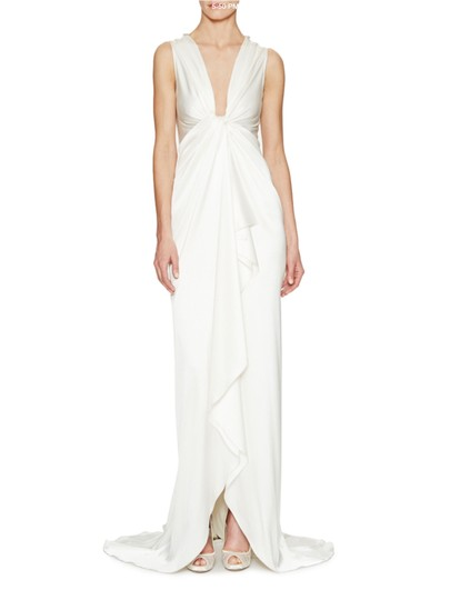 Pnina Tornai Off White Silk Charmeuse Jeweled Back Gown Wedding Dress Size 4 (S)