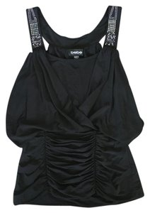 bebe Tank Party Studded Metallic Club Top black