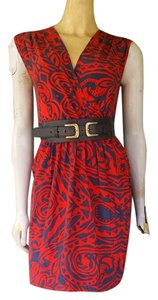 Akiko short dress Red Belt Silk Mini Gray on Tradesy