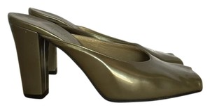 Saint Laurent Vintage Patent Leather Olive Green Pumps