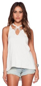 Free People Racer-back Slouchy Macrame Boho Beachy Top White