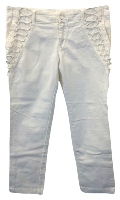 Item - White Lace-up Detail Skinny Jeans Size 32 (8, M)