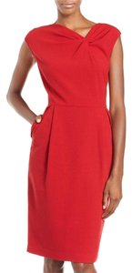 Lafayette 148 New York Professional Cinched Neck Faux Knot Dress