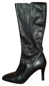 Antonio Melani Leather Knee-height High-heel Black Leather Boots
