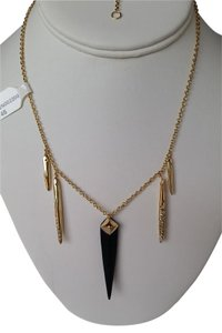 Alexis Bittar Gold Black Lucite and Crystals Spear Pendant Necklace