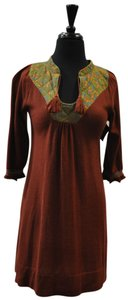 Free People short dress brown Wool on Tradesy