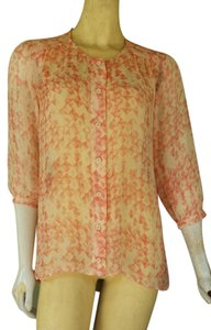 CAbi Silk 3/4 Sleeves Top Peach